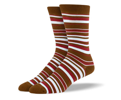 Men's Brown & White Thin Stripes Socks