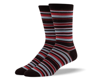 Men's Dark Brown & Grey Thin Stripes Socks