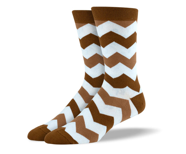 Men's Brown Zig Zag Socks