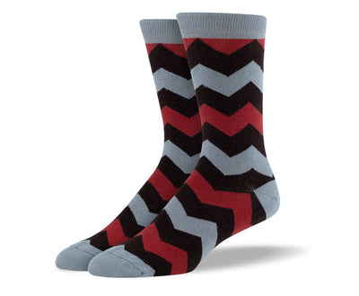 Men's Dark Brown Zig Zag Socks