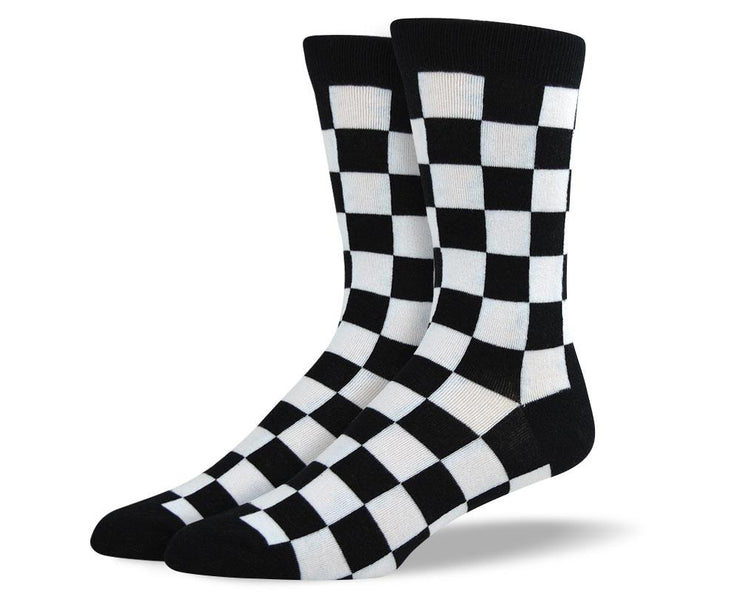 Men's Crazy Black & White Square Socks