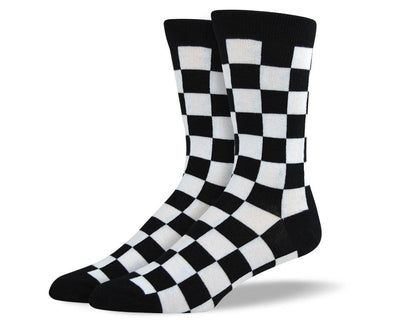 Men's Pattern Black & White Square Socks