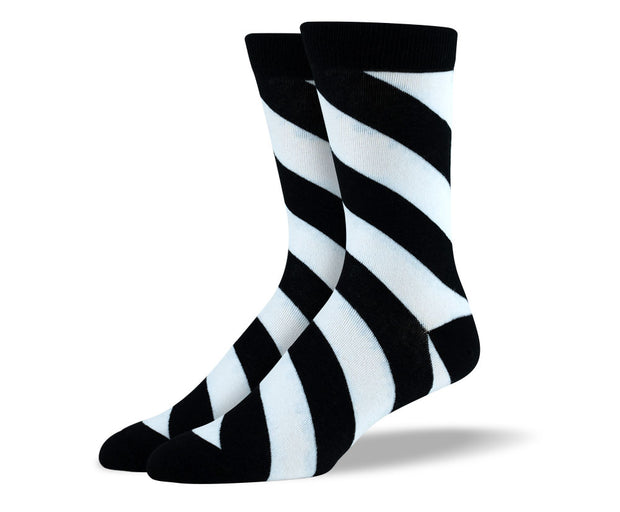 Men's Black & White Diagonal Stripes Socks
