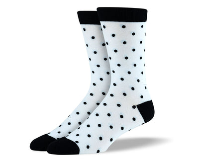 Men's White & Black Polka Dots Socks