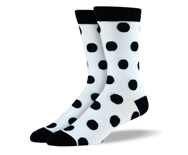 Men's White & Black Big Dots Socks