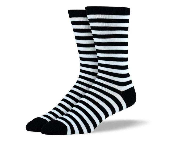 Men's High Quality Black & White Stripes Socks
