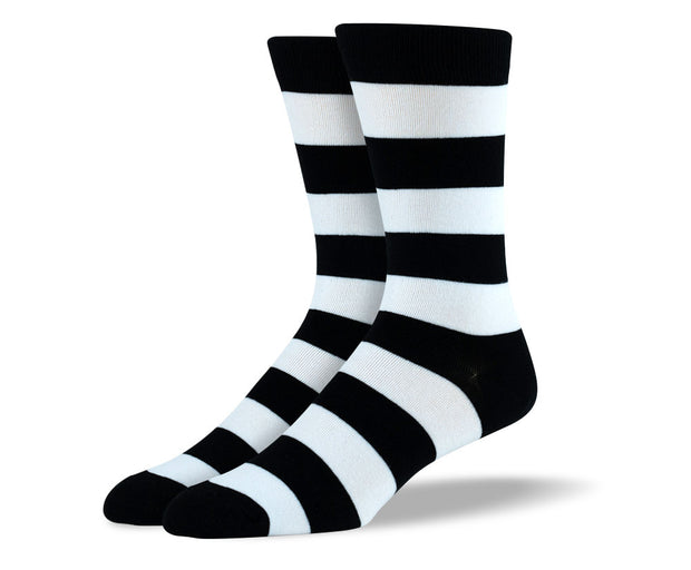 Men's Black & White Thick Stripes Socks