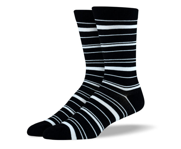 Men's Black & White Thin Stripes Socks