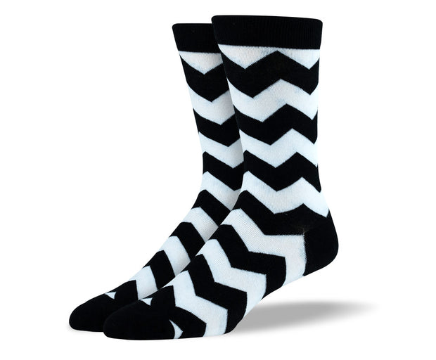 Men's Black & White Zig Zag Socks