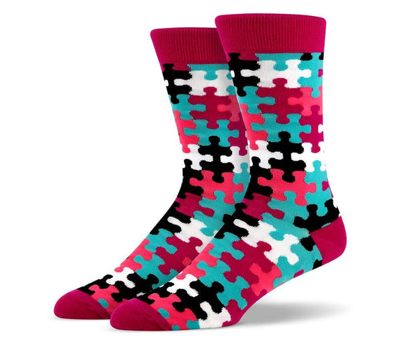 Mens Pink Puzzle Socks