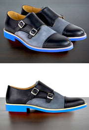 Mens Black & Blue Leather Double Monk Strap Dress Shoes - Size 12