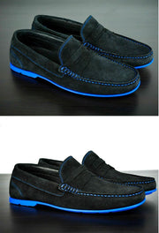 Mens Black & Blue Suede Driving Loafers- Size 12