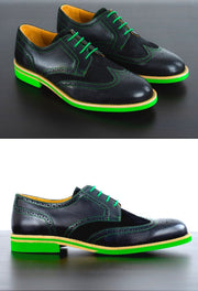Mens Black & Green Leather Wingtip Dress Shoes- Size 12
