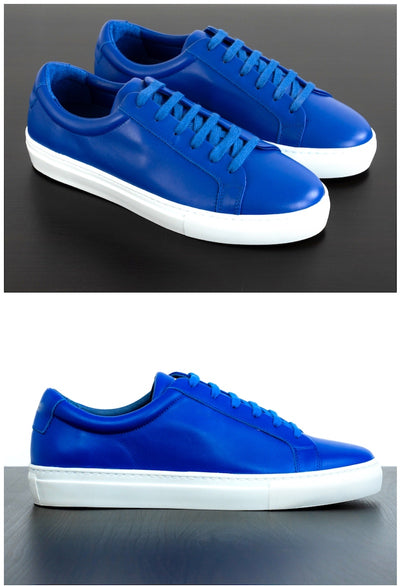 Mens Blue Leather Sneakers