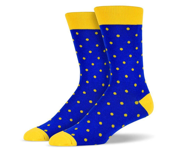 Mens Yellow Small Polka Dot Socks