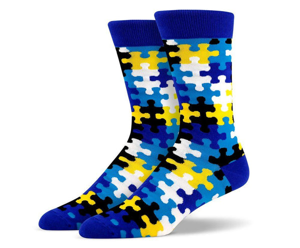 Mens Blue Puzzle Socks