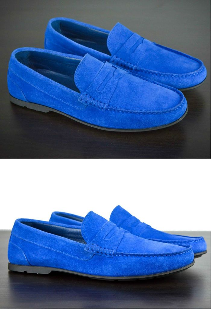 Mens Blue Suede Driving Loafers