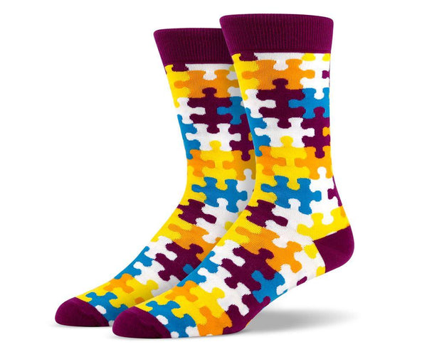 Mens Purple Puzzle Socks