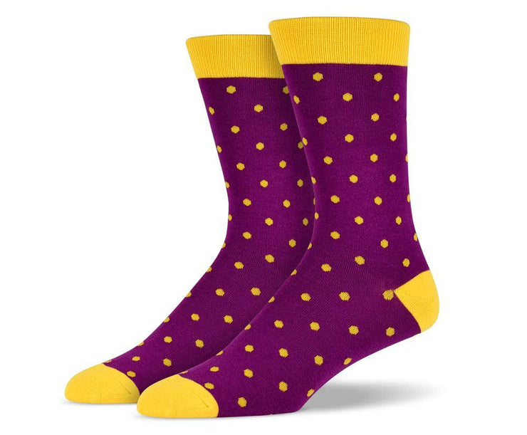 Mens Purple Small Polka Dot Socks