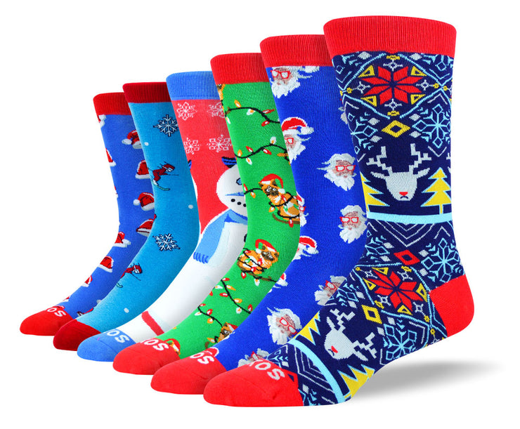 Men's Christmas Socks Bundle - 6 Pairs