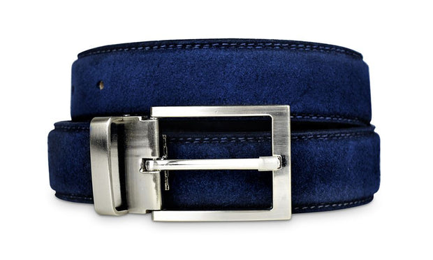 Mens Navy Suede Belt