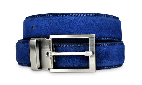 Mens Blue Suede Belt