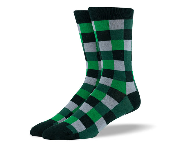Men's Dark Green Square Socks