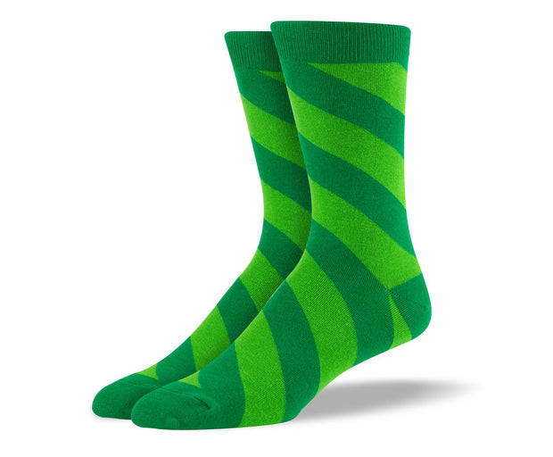 Men's Green Diagonal Stripes Socks