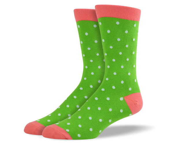 Men's Green Small Polka Dots Socks