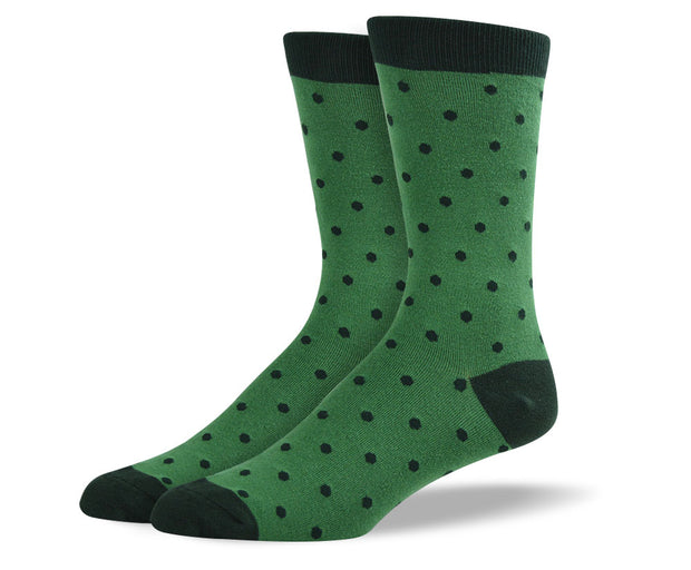 Men's Dark Green Small Polka Dots Socks