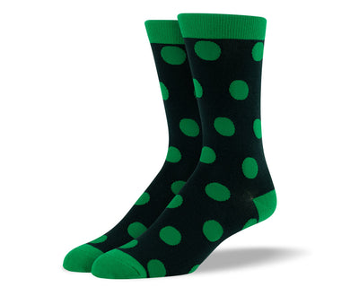 Men's Dark Green Big Dots Socks