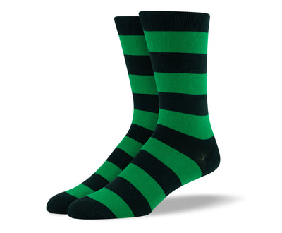 Men's Dark Green Thick Stripes Socks