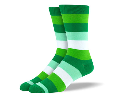 Men's Green & White Thick Stripes Socks