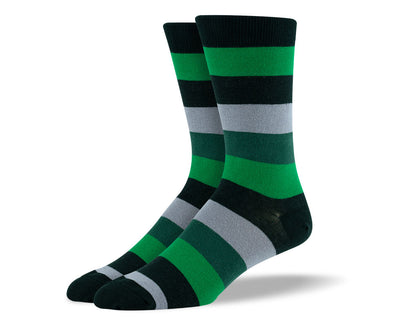 Men's Green & Grey Thick Stripes Socks