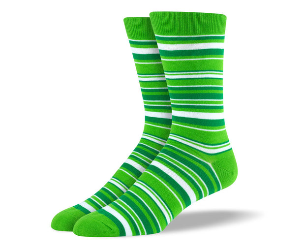 Men's Green & White Thin Stripes Socks