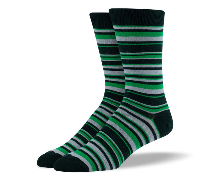 Men's Green & Grey Thin Stripes Socks