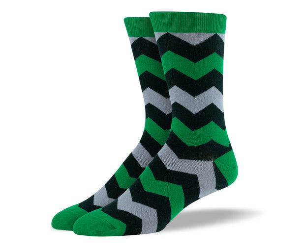 Men's Dark Green Zig Zags Socks