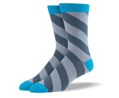 Men's Grey Diagonal Stripes Socks