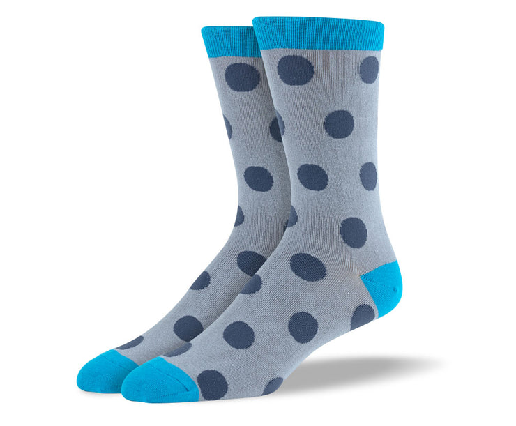 Men's Grey & Blue Big Dots Socks