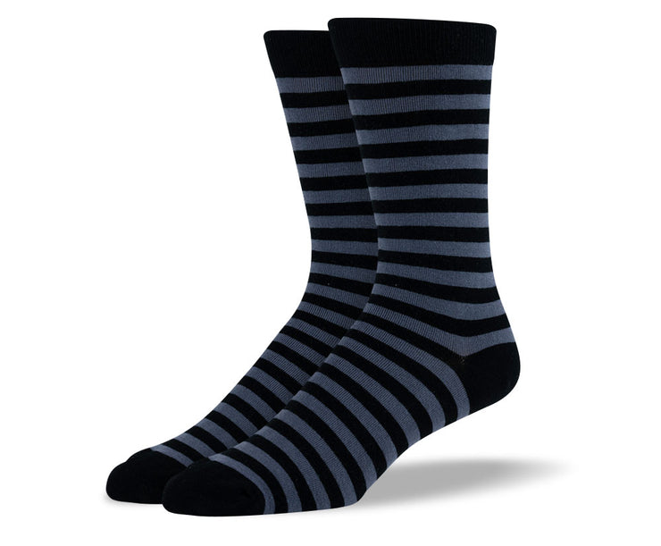 Men's Grey & Black Stripes Socks