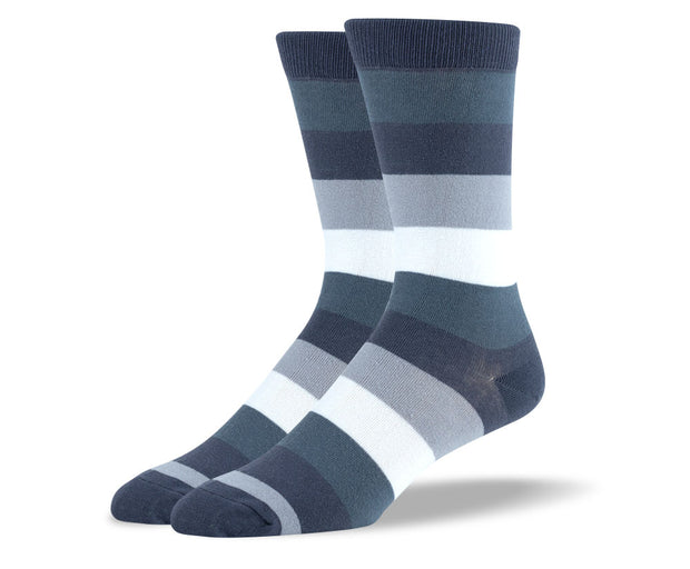 Men's Grey & Blue Thick Stripes Socks