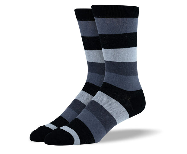 Men's Grey & Black Thick Stripes Socks