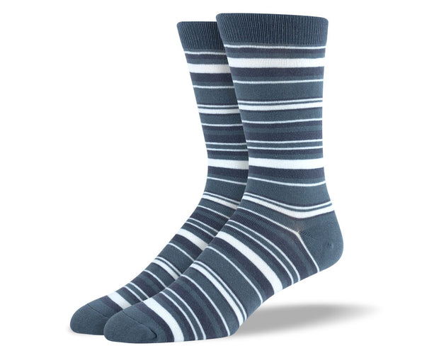 Men's Grey & White Thin Stripes Socks