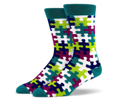 Mens Green Puzzle Socks