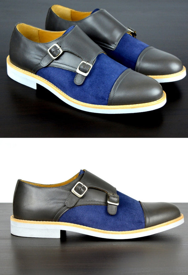 Mens Grey & Blue Leather Double Monk Strap Dress Shoes