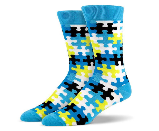 Mens Light Blue Puzzle Socks