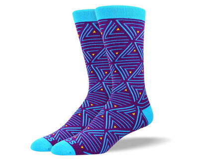 Men's Novelty Blue Triangle Socks