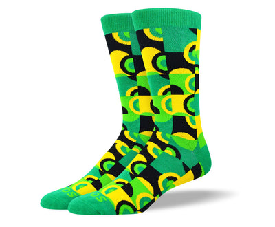 Men's Colorful Green Art Socks