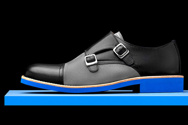 Mens Black & Blue Leather Double Monk Strap Dress Shoes