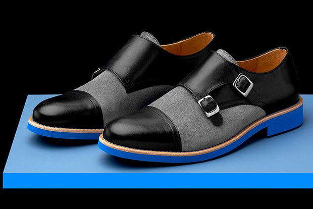 Mens Black & Blue Leather Double Monk Strap Dress Shoes - Size 10
